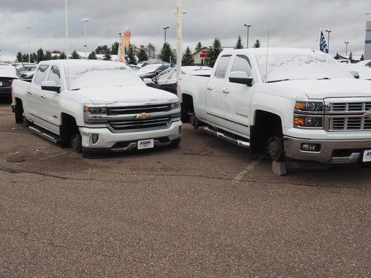 Chevy trucks had rims and tires taken off them on Oct. 1 in Merrill and police believe it is part of a ring of thefts that have occurred across Wisconsin.