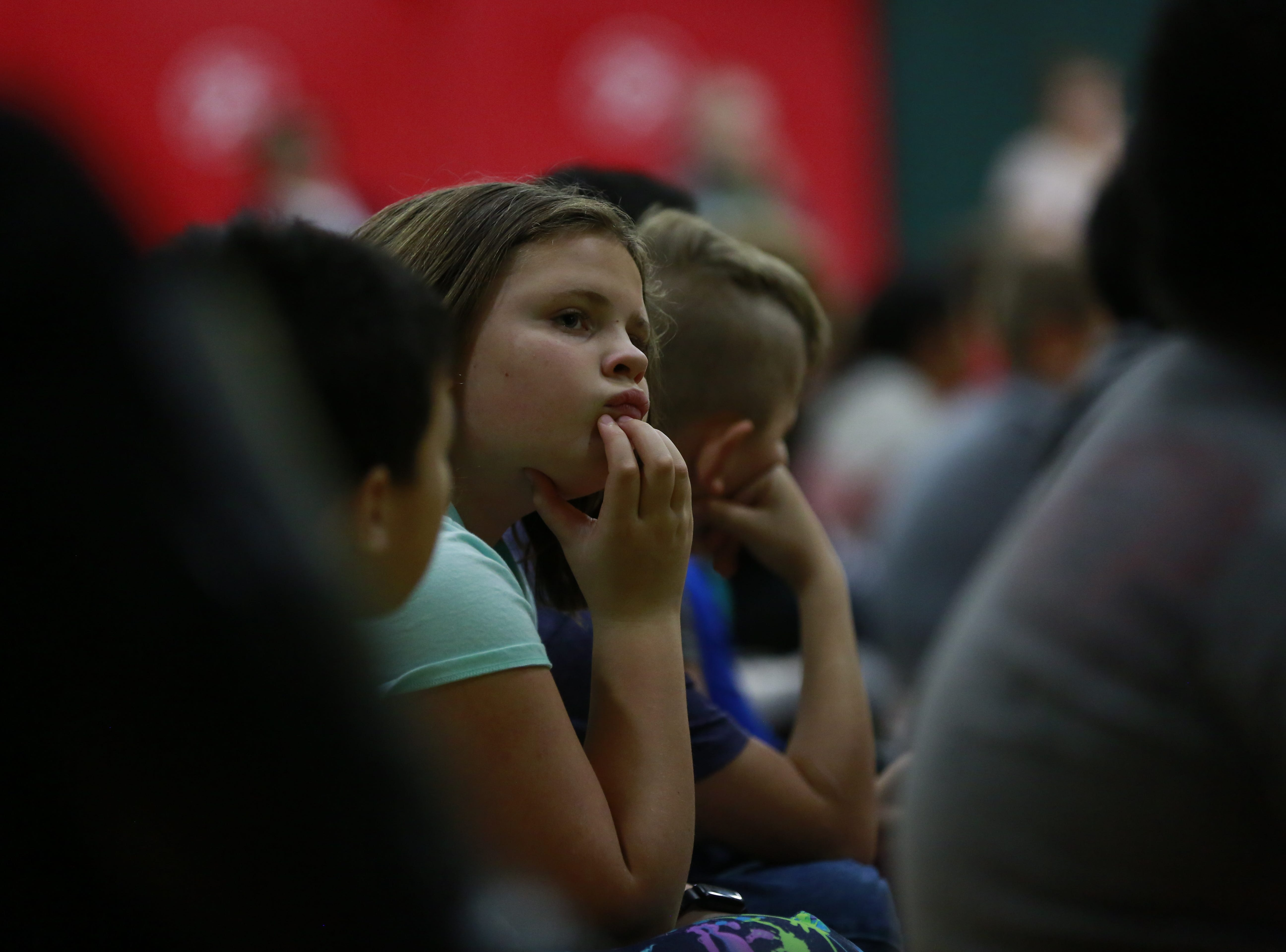 Students listen to former MSU basketball player Anthony Ianni talks about bullying Monday, Oct. 15, 2018, during the Anti-Bullying Relentless Tour to Visit Wisconsin at Weston Elementary School in Weston, Wis. T'xer Zhon Kha/USA TODAY NETWORK-Wisconsin