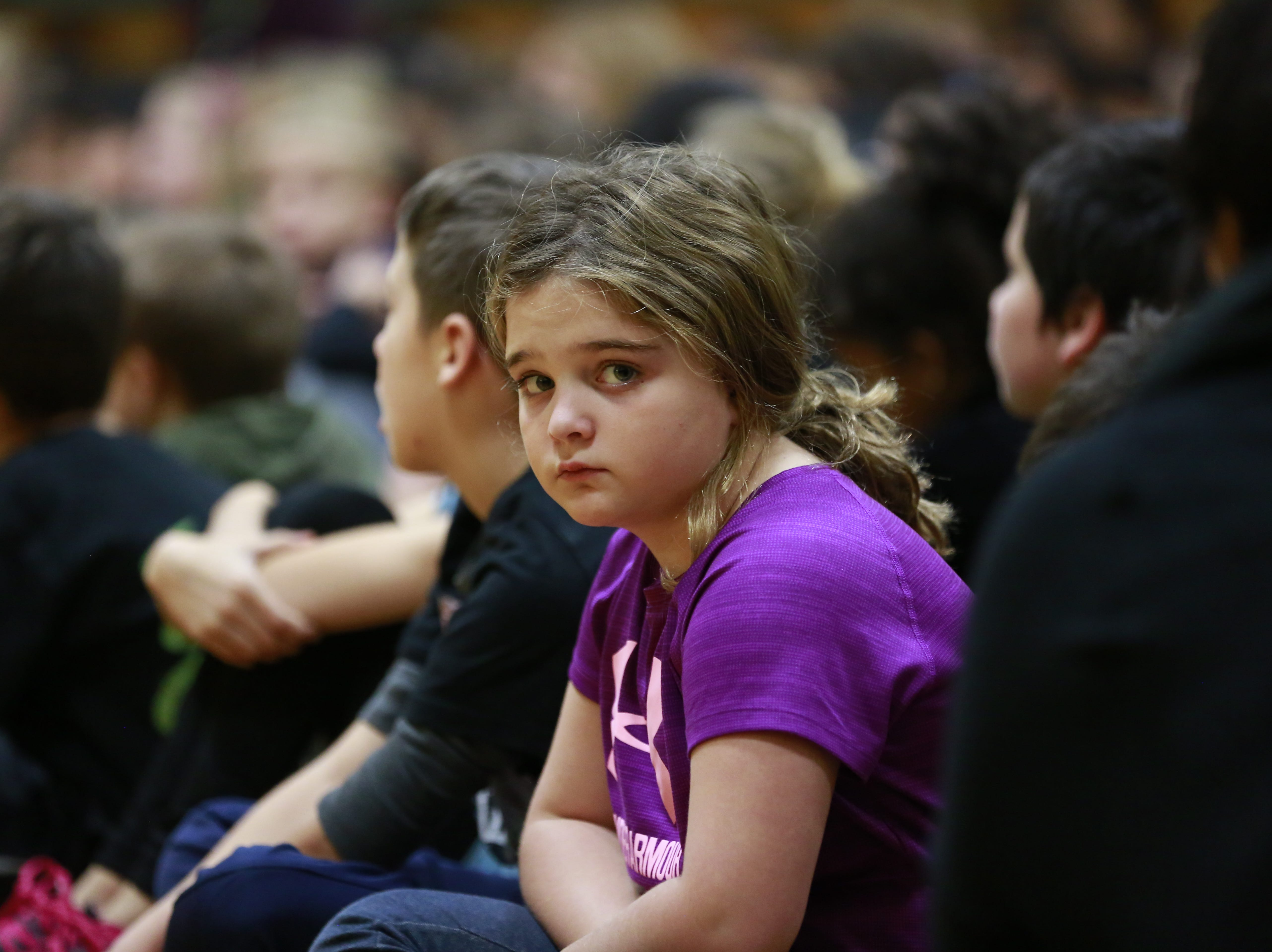 A student looks on the camera Monday, Oct. 15, 2018, during the Anti-Bullying Relentless Tour to Visit Wisconsin at Weston Elementary School in Weston, Wis. T'xer Zhon Kha/USA TODAY NETWORK-Wisconsin