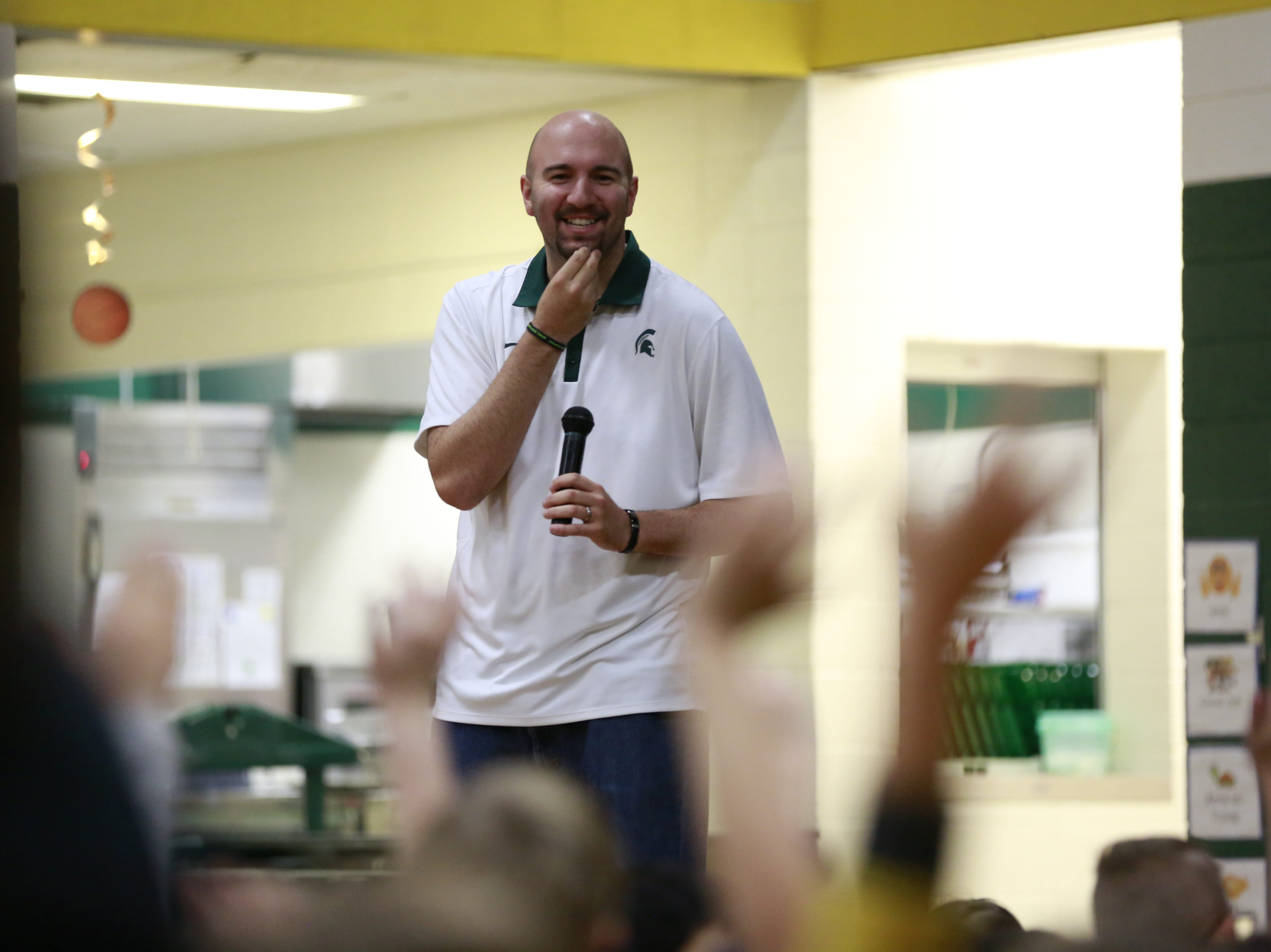 Former MSU basketball player Anthony Ianni looks on students to pick for an activity Monday, Oct. 15, 2018, as part of the Anti-Bullying Relentless Tour to Visit Wisconsin at Weston Elementary School in Weston, Wis.