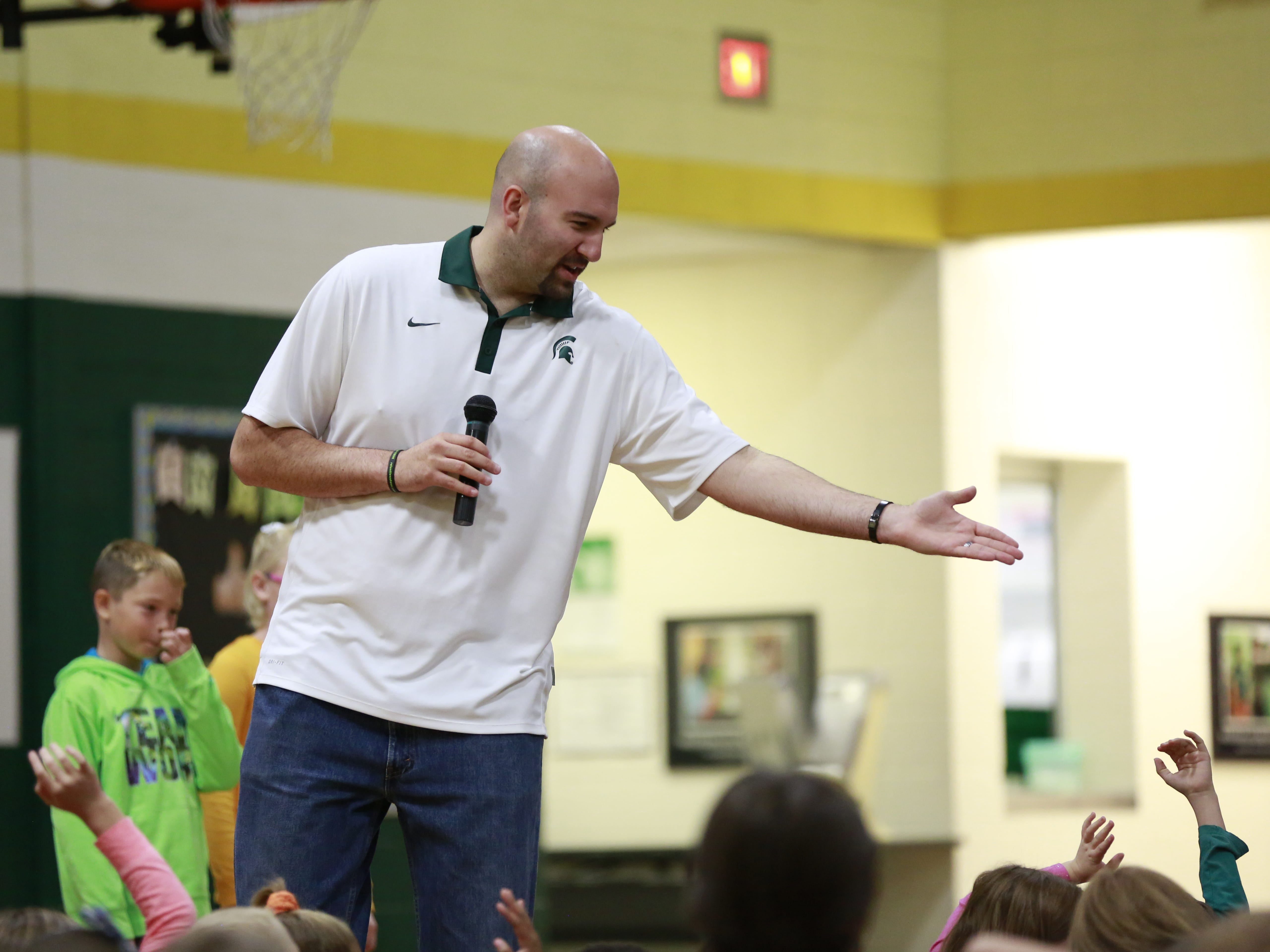 Students get voluntarily called by former MSU basketball player Anthony Ianni on Monday, Oct. 15, 2018, during the Anti-Bullying Relentless Tour to Visit Wisconsin at Weston Elementary School in Weston, Wis.