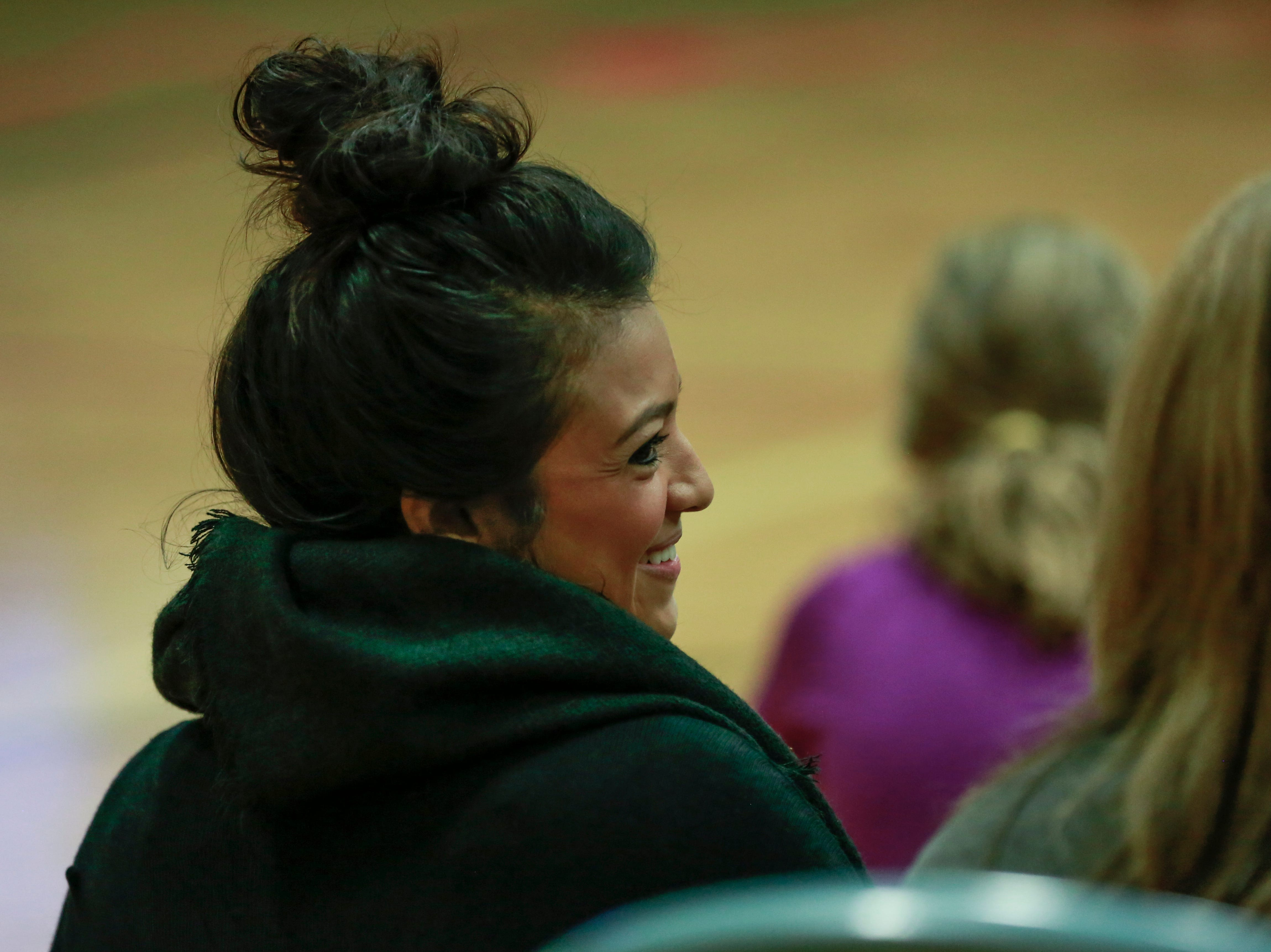 A teacher smiles along with students Monday, Oct. 15, 2018, during the Anti-Bullying Relentless Tour to Visit Wisconsin at Weston Elementary School in Weston, Wis. T'xer Zhon Kha/USA TODAY NETWORK-Wisconsin