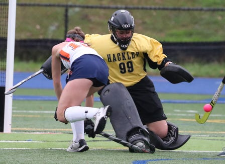 Horace Greeley's Olivia Barlow is stopped by Hackley goalie Jenny Canoni during their game at Greeley Oct. 15, 2018. Greeley won 3-1.