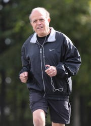 Sal Pellegrino, formerly of Pearl River, jogging on a Nanuet street, will be marking his 75th birthday running his 27th New York City Marathon. Tuesday, October 16, 2018.