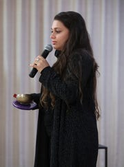 Antoinette Klatzky, executive director of the Eileen Fisher Leadership Institute, speaks at the Rivertowns Women's Networking event at the Eileen Fisher Learning Lab in Irvington Oct. 15, 2018.