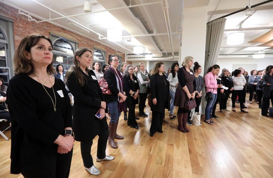 Guests attend the Rivertowns Women's Networking event at the Eileen Fisher Learning Lab in Irvington Oct. 15, 2018.