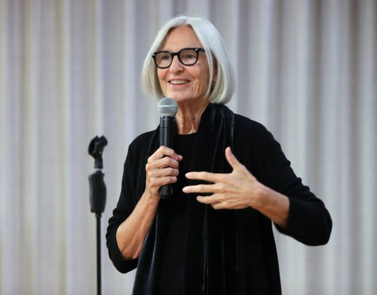 Eileen Fisher speaks at the Rivertowns Women's Networking event at the Eileen Fisher Learning Lab in Irvington Oct. 15, 2018.