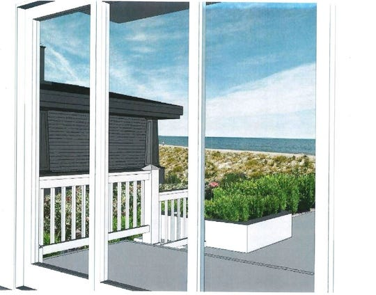 A rendering depicts the ocean-view obstruction alleged by neighbors of a home proposed to be built by Louis Capano III.