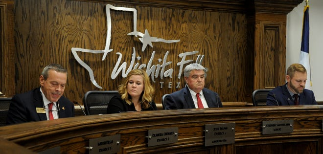 Jeff Watts, left, Catie Robinson, Tim Brewer and Nicholas Schreiber took part in the League of Women Voters forum Monday, Oct. 15, 2018, in the Wichita Falls City Counil Chambers.