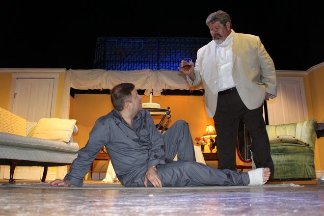 """George Patterson and Rich Tolliver rehearse a scene from """"Cat on a Hot Tin Roof"""" playing at the Renner."""