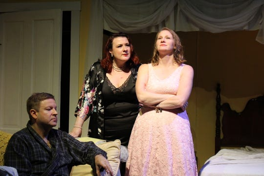 "George Patterson, Jillian B. VonGunten and Sarah Gantzer rehearse a scene from ""Cat on a Hot Tin Roof."""