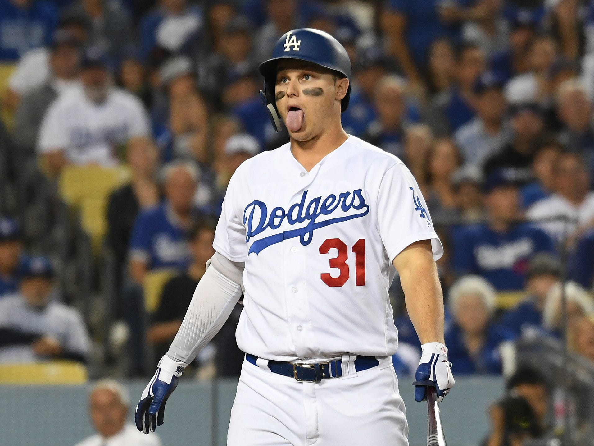 NLCS Game 3: Dodgers left fielder Joc Pederson takes a strike in the fifth inning.
