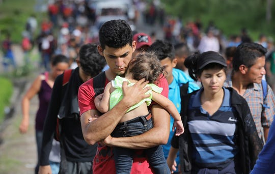 A caravan with more than 1500 Honduras immigrants moving north after crossing the border from Honduras to Guatemala on October 15, 2018 in Esquipulas, Guatemala.