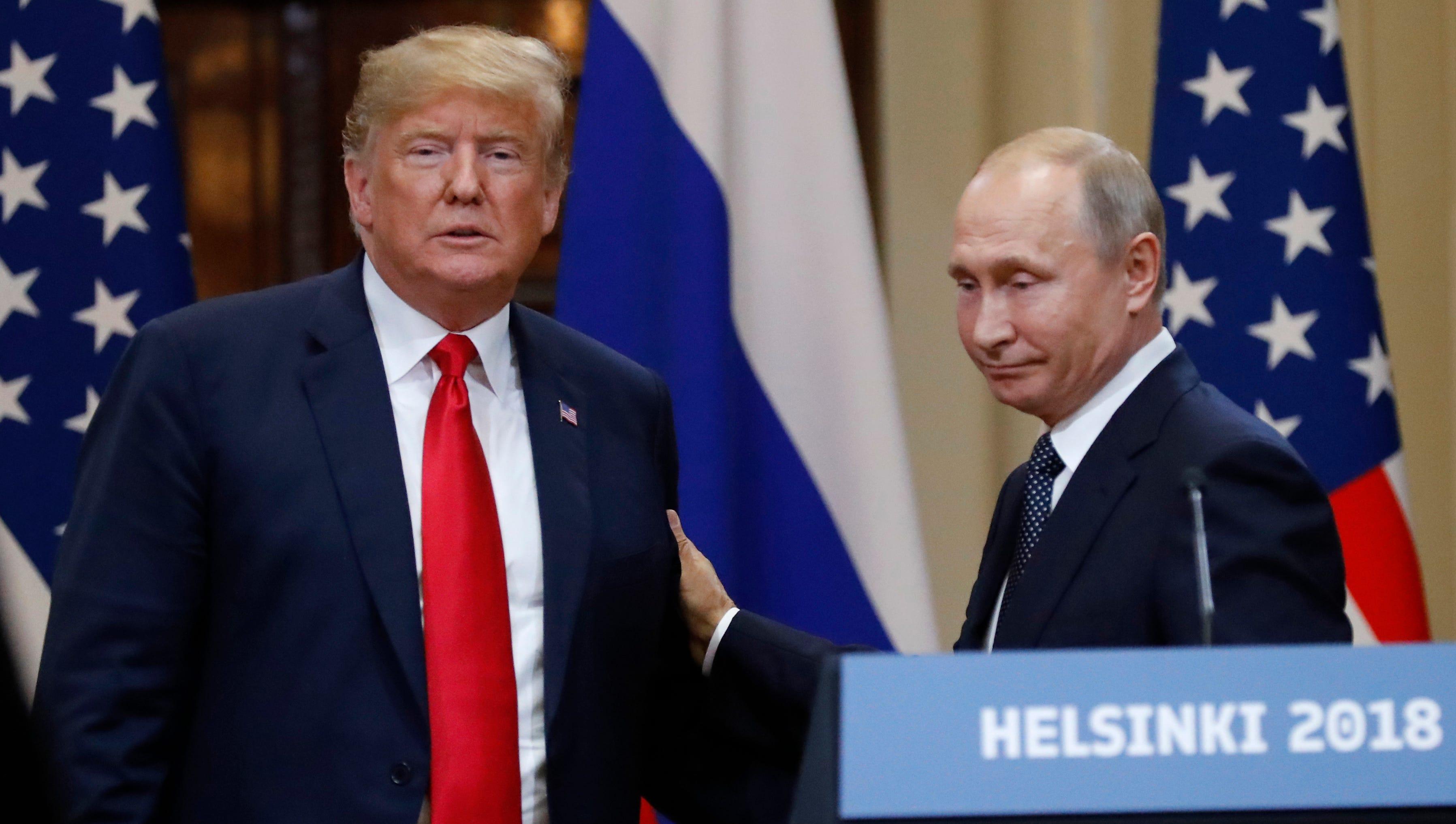 U.S. President Donald Trump and Russian President Vladimir Putin during their meeting in Helsinki in July.
