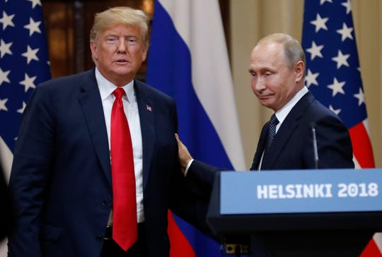 U.S. President Donald Trump and Russian President Vladimir Putin during their meeting in Helsinki in July.