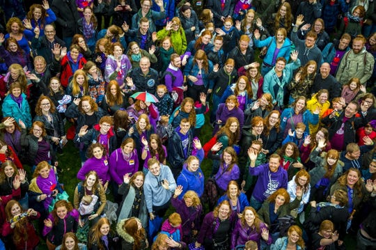 More than thousand people with red hair gather during Redhead Day, in Breda, Netherlands, on Sept. 23, 2018.