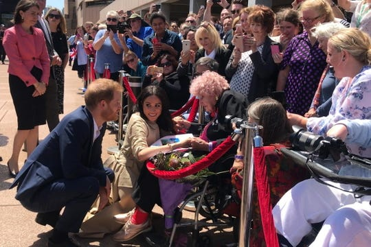 Harry reunited with 98 year-old Daphne Dunne during the walkabout, and introduced his friend to Meghan.