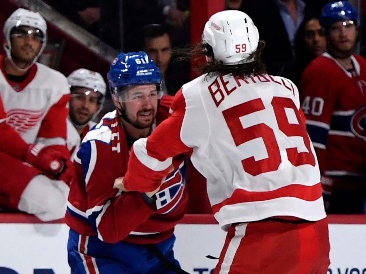 Oct. 15: Montreal Canadiens defenseman Xavier Ouellet and Detroit Red Wings forward Tyler Bertuzzi fight during the third period at the Bell Centre.