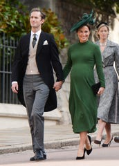 James Matthews and Pippa Middleton attend the wedding of Princess Eugenia of York and Jack Brooksbank in the Chapel of St. George at Windsor Castle on October 12, 2018.