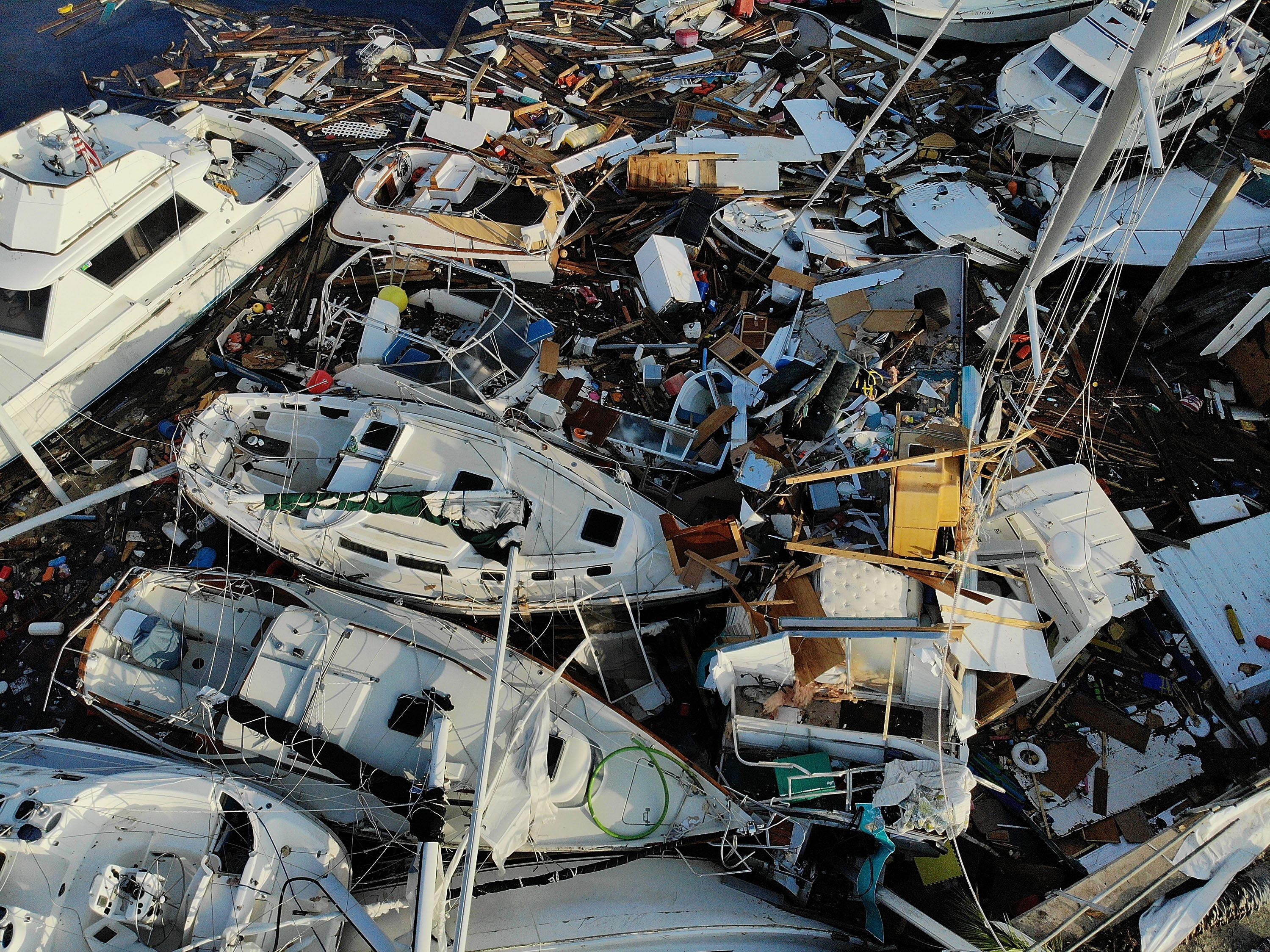 Boats sit in a tangled mess in the Panama City Marina after Hurricane Michael passed through the area on Oct. 16, 2018 in Panama City, Fla.