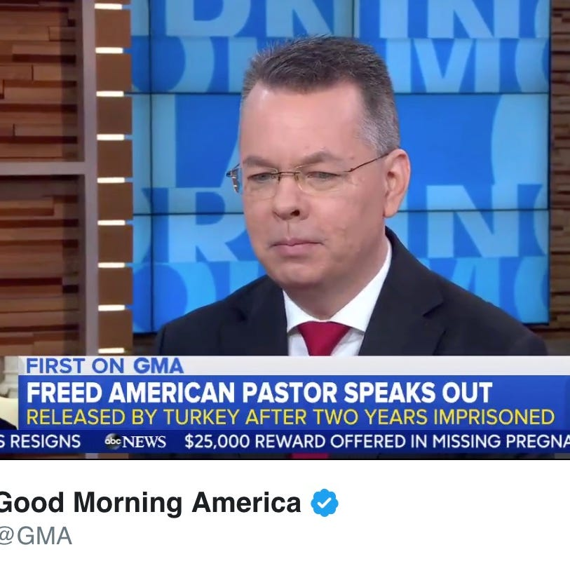 "Andrew Brunson in a video tweeted by ""Good Morning America."""