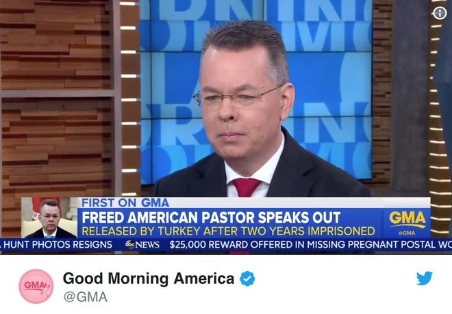 """Andrew Brunson in a video tweeted by """"Good Morning America."""""""