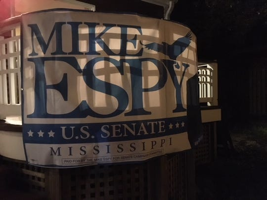 A Mike Espy sign hung in the backyard of a Washington, D.C., home at a Oct. 3, 2018, fundraiser for his campaign.