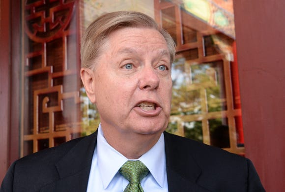 U.S. Sen. Lindsey Graham speaks with media about the events surrounding Brett Kavanaugh's confirmation before speaking at the 1st Monday Club of Anderson at Master's Wok in Anderson, S.C., on Oct. 1, 2018.