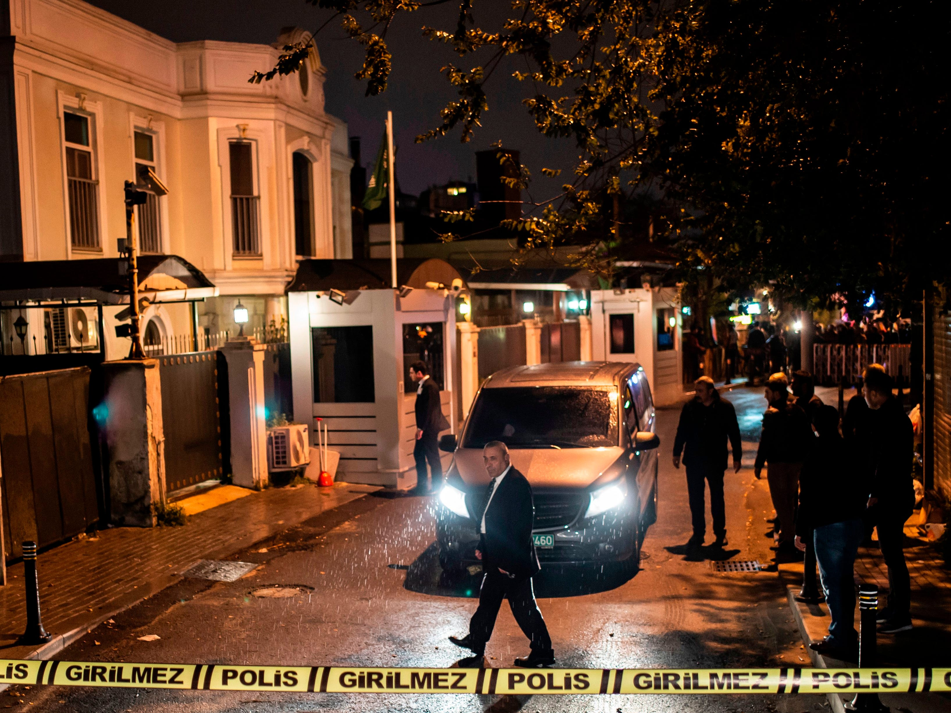 Turkish forensic police officers arrive for investigation at the residence of the Saudi consul in Istanbul, Oct. 16, 2018.