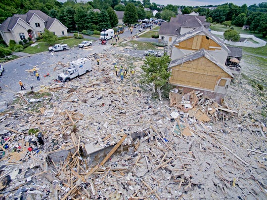 Aerial photo of the destruction left by a home explosion in Millersville, Pa. in July 2017. One gas worker was killed and two others were injured.