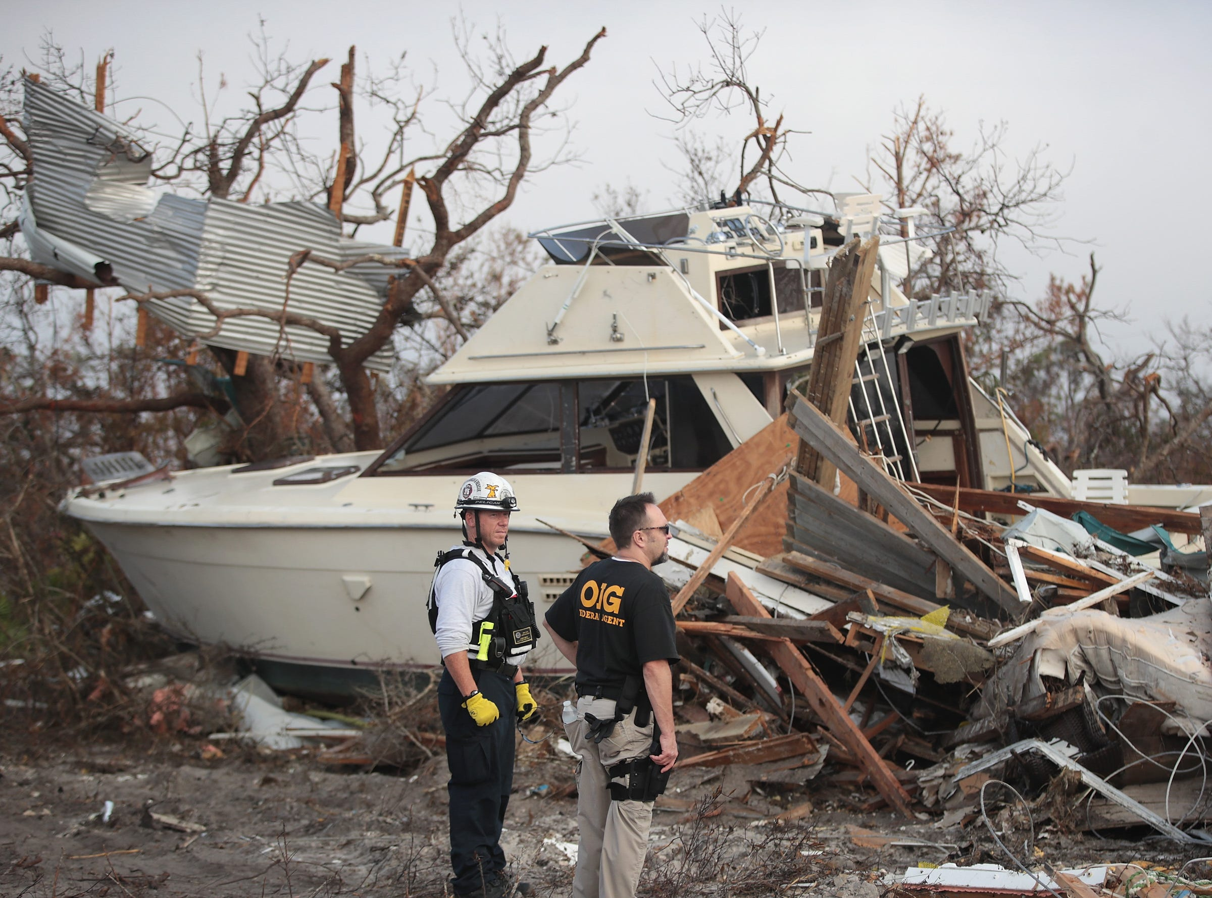 Members of the Maryland Task Force urban search and rescue team continue to search for victims of Hurricane Michael on Oct. 16, 2018 in Mexico Beach, Fla.