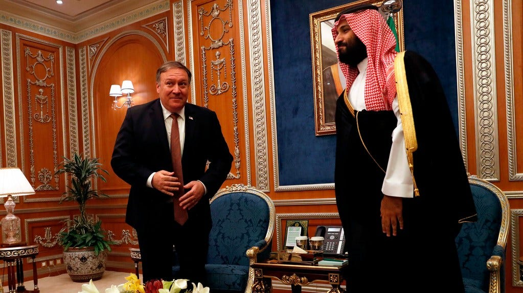 Secretary of State Mike Pompeo, left, meets with Saudi Crown Prince Mohammed bin Salman in Riyadh, on October 16, 2018.