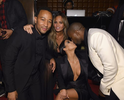 John Legend, Chrissy Teigen, Kim Kardashian and Kanye West meet in New York City on January 8, 2015.