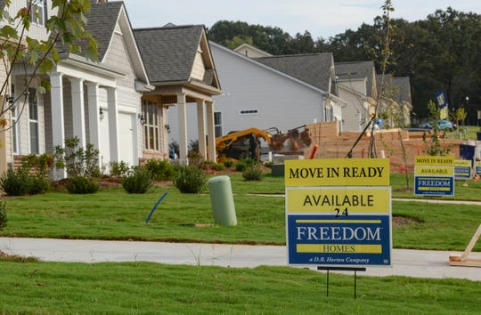 Construction workers build homes in the Pennington Farms subdivision near S.C. 81 North in Anderson. The Freedom Homes houses are advertised as new homes from the $200s.