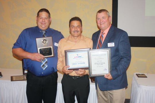 Jeff Nimke was inducted into the Greater Fox Cities USBC Hall of Fame recently. He is with Greater Fox Cities USBC President Josh Westenberger, left, and Wisconsin USBC association manager Don Hildebrand, right.