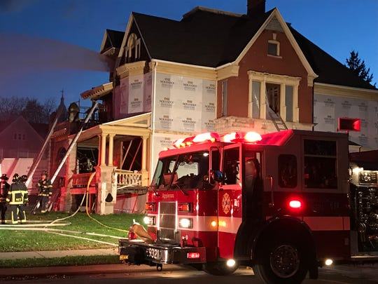 Crews battle a fire in the 200 block of North Union Street.