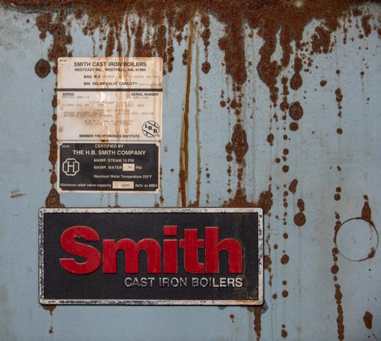 Detail from the boiler system  that needs replacement as part of the Keyport schools referendum.  This is in the High School and is dated 1997.