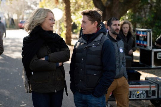 "Jamie Lee Curtis and director David Gordon Green on the set of ""Halloween."""