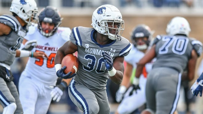 Monmouth running back Juwon Farri was named Big South Freshman of the Week after rushing for 182 yards against Bucknell.