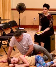 Catherine Ashmore Bradley (Small Alison), Robert Cuccioli (Bruce) and Lauren Cohn (Alison) in rehearsal at White Plains Performing Arts Center.