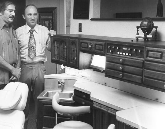 Dr. Gene Shelhamer, right, with Dr. L. M. Bayouth at Stamford Professional Center when it opened in 1977.