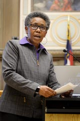 Debra Campbell addresses the crowd after City Council unanimously approved her hiring Wednesday as city manager.