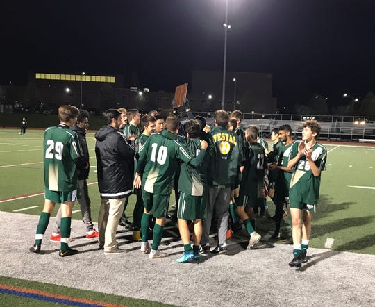 The Vestal celebration is on after the Golden Bears defeated Elmira, 2-1, in the Southern Tier Athletic Conference championship match.