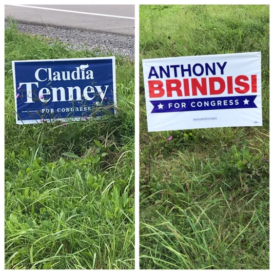 Political campaign signs for Republican Claudia Tenney and Democrat Anthony Brindisi.
