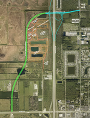 The green line depicts the St. Johns Heritage Parkway extending from U.S. 192 northward to the future Ellis Road I-95 interchange, which is depicted in blue.