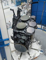 The U.S. Air Force's fourth Advanced Extremely High Frequency satellite, or AEHF-4, valued at $1.8 billion, before it was enclosed in a United Launch Alliance Atlas V rocket's payload fairing. The satellite launched at 12:15 a.m. Oct. 17 from Cape Canaveral Air Force Station.