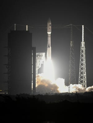 A United Launch Alliance Atlas V rocket lifts off from Cape Canaveral Air Force Station on Wednesday, Oct 17, 2018, carrying the AEHF-4 communications satellite for the Air Force.