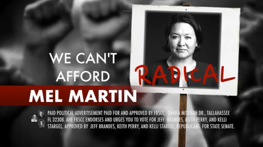 This is a screen shot from an anti-Mel Martin television ad paid for by the Florida Republican Senatorial Campaign Committee.