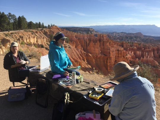 The five women tried to paint at least two scenes each during every day of the trip.