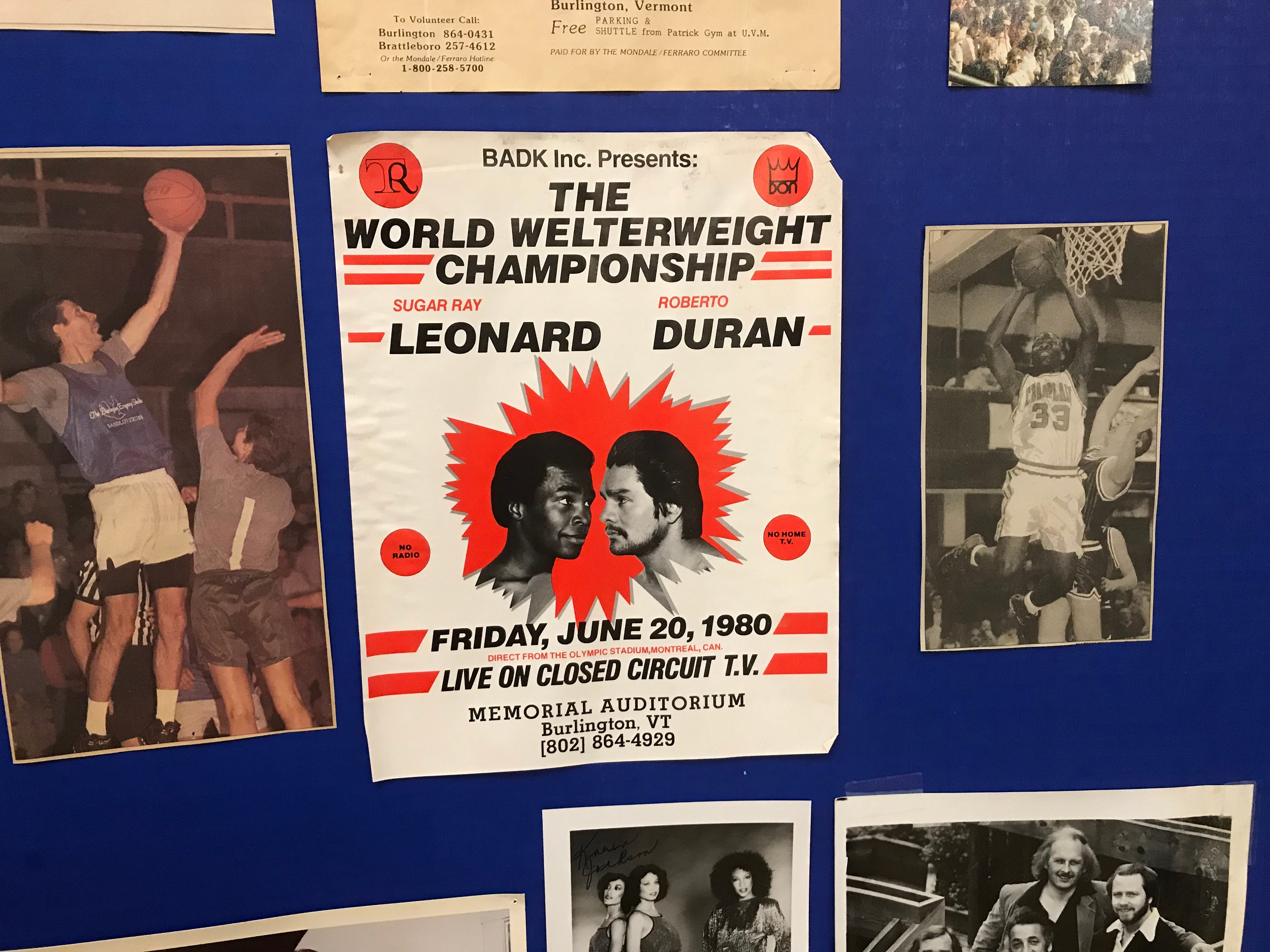 A display of sporting events at Memorial Auditorium in Burlington includes a championship bout between Sugar Ray Leonard and Roberto Duran. Photographed Sept. 13, 2018.